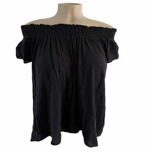 TALULU Black Cabrini Off Shoulder Top Blouse Med